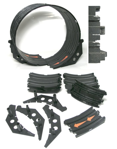 18pc TOMY Aurora AFX HO Slot Car DoUbLe LOOP TRANSITION